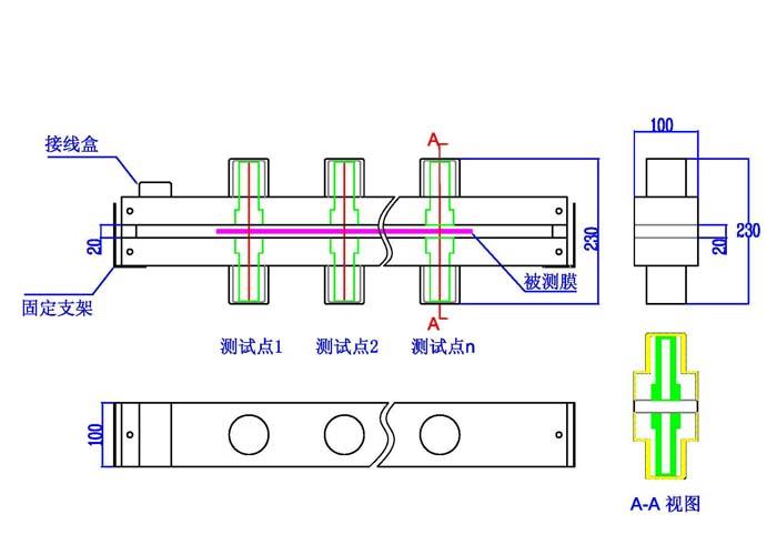 一:LS152真空镀膜在线测厚仪测试原理 材料的透过率(光密度)和材料的镀层厚度成一定的比例关系。这样通过监控材料的光学透过率(光密度)来达到监控材料的均匀性,镀层厚度的目的。只要是光能透过的材料,都可以通过监控透光率来监控产品的品质。如卷绕真空镀膜,玻璃镀膜,玻璃生产线等等。  二:LS152非接触式在线测厚仪结构组成 设备分为三部分:探测系统、人机交互设备、电脑实时监控系统; 探测系统:主要包括光源,接收器,控制器和铝支架; 人机界面:7寸LCD人机交互界面,显示各个测试点的透过率和光密度数据; 电脑
